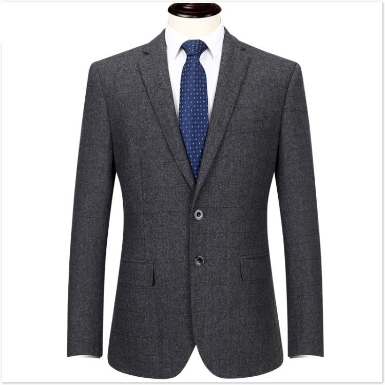 皮尔卡丹男士休闲羊毛单西毛料西装单件外套中年毛呢免烫西服男秋