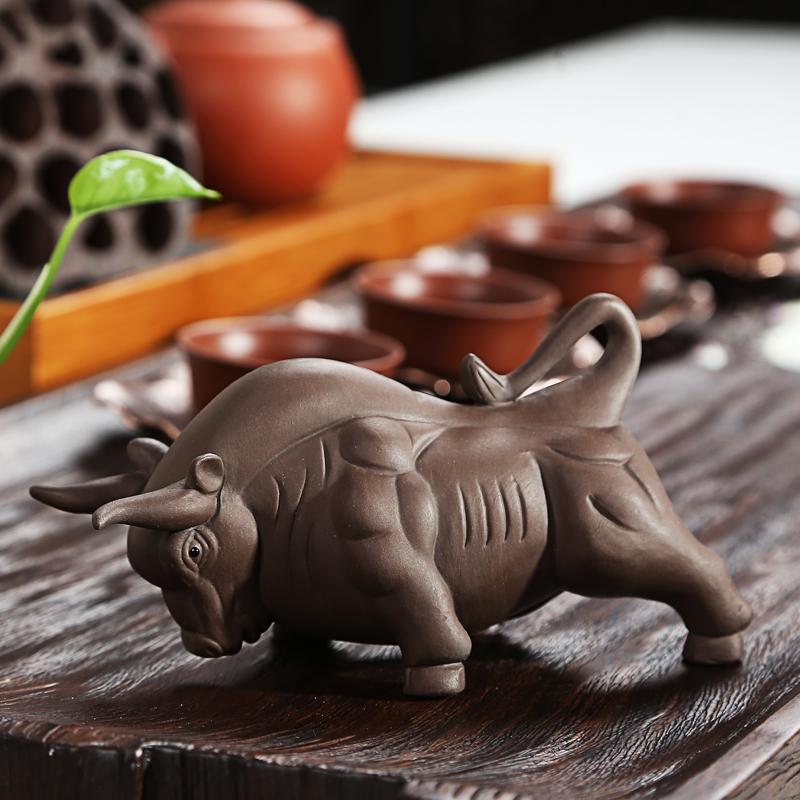 紫砂茶宠摆件可养创意貔貅牛马金蟾麒麟茶具茶艺茶玩配件