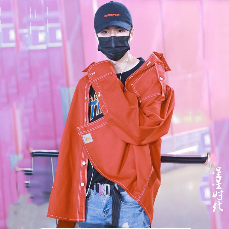 王一博同款衣服红色牛仔外套男友风夹克街头宽松韩版上衣2019秋季