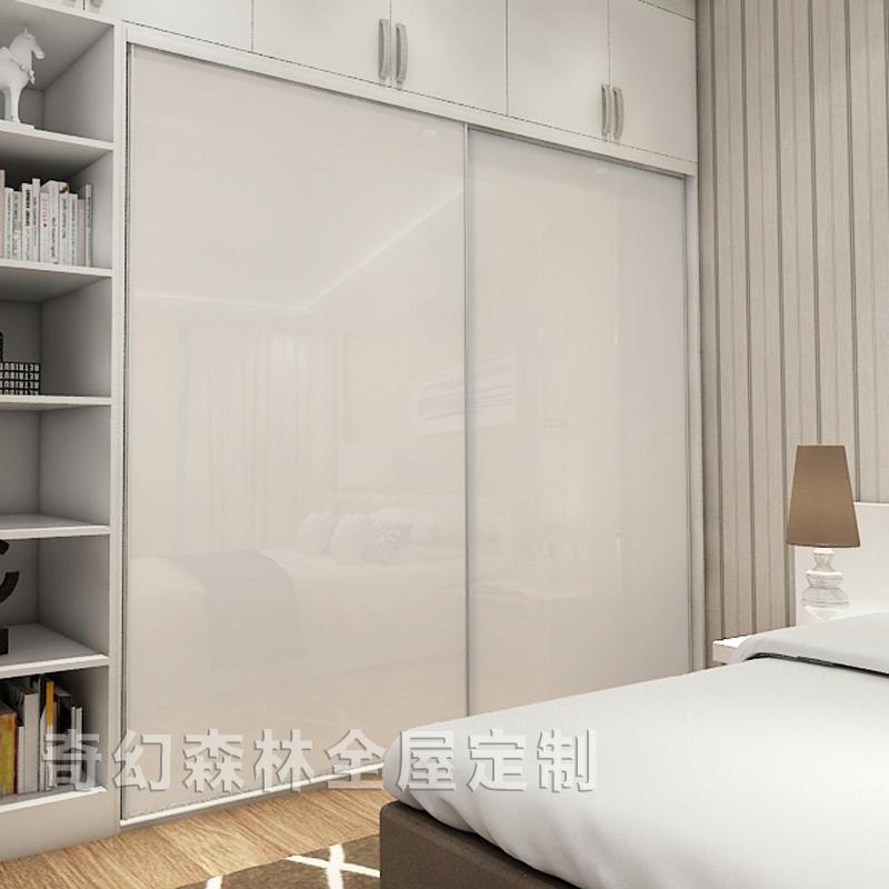 钢琴烤漆衣柜推拉滑移门定制奢华环保实木高光简约现代壁橱柜门