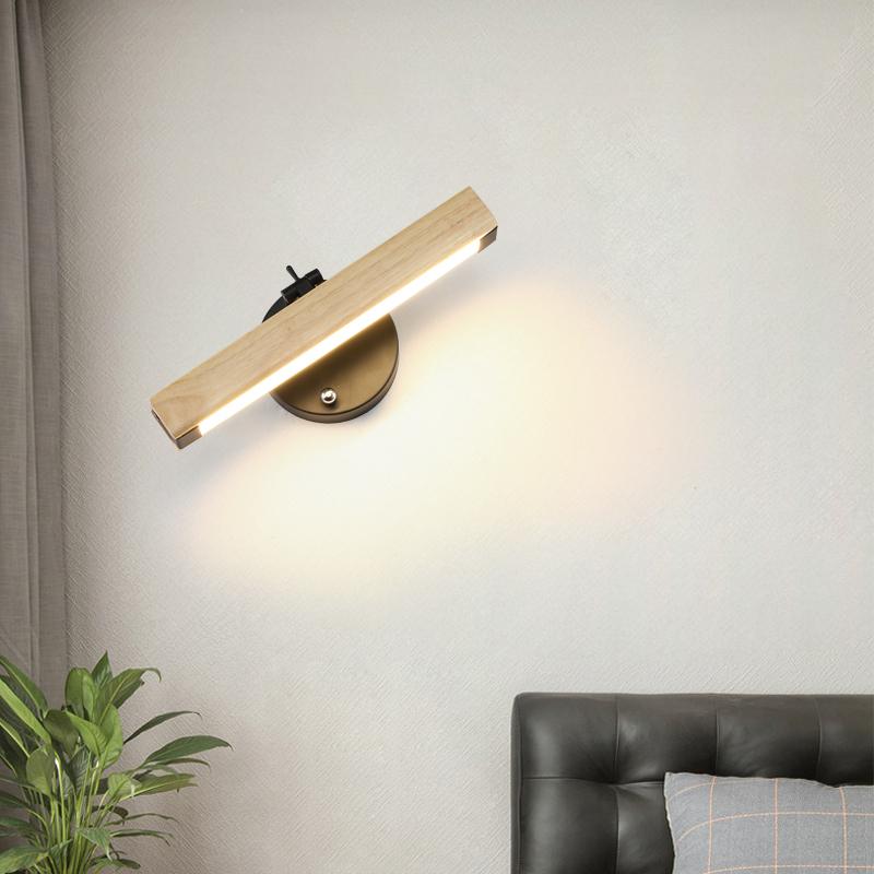 原木壁灯北欧简约现代房间床头卧室墙灯个姓创意过道楼梯灯墙壁灯