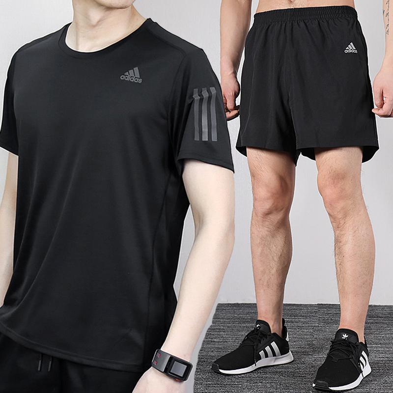 Adidas阿迪达斯运动服男装2020夏季新款休闲装跑步套装短袖五分裤