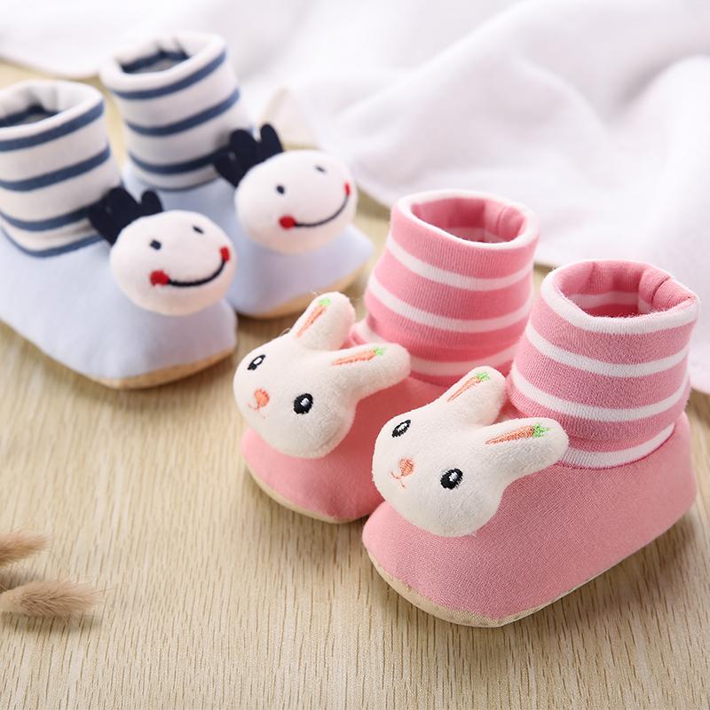 秋冬季6-12个月0-1岁3男女宝宝新生儿婴儿软底防掉加绒学步棉鞋袜