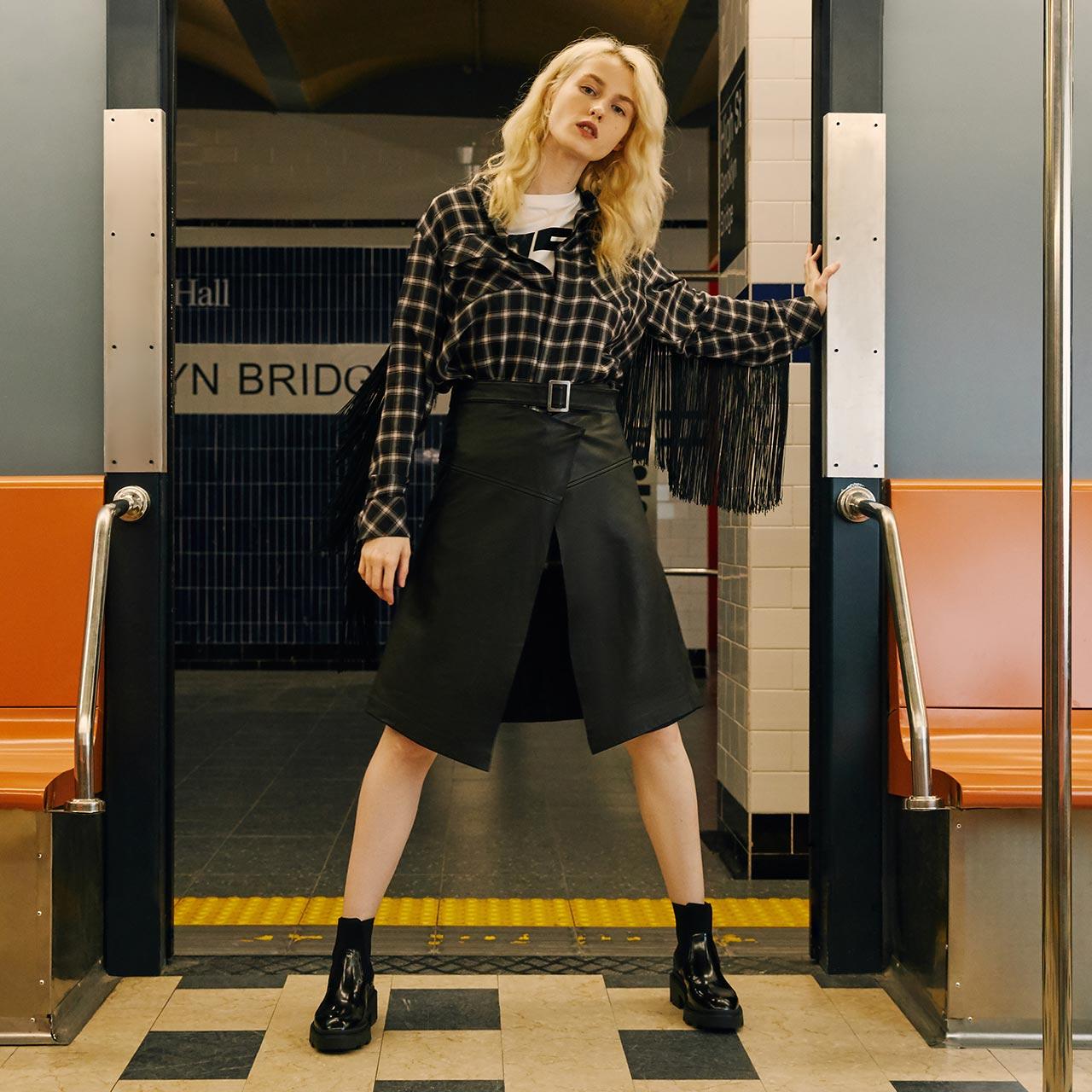 ASH女鞋秋冬季新款马丁靴METRO系列时尚拼接厚底短靴切尔西女靴