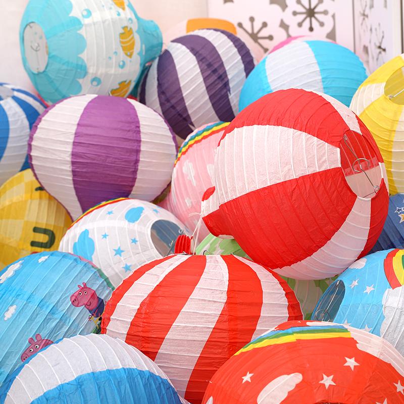 开学季中秋节装饰纸热气球灯笼超市商场教室金店面铺布置吊顶挂件