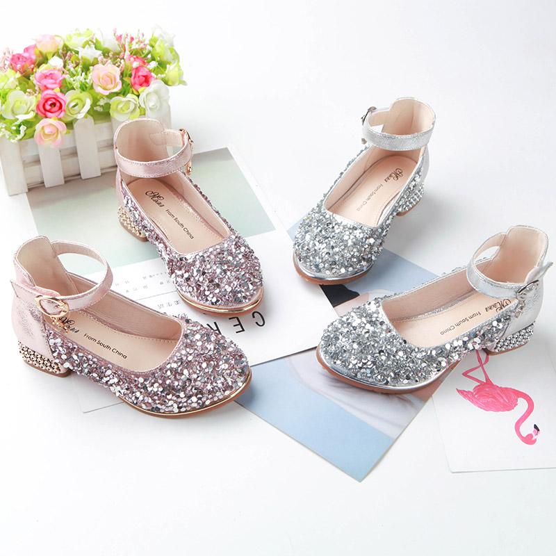 女童公主鞋2019新款春秋儿童高跟鞋小女孩水晶鞋走秀单鞋女童皮鞋