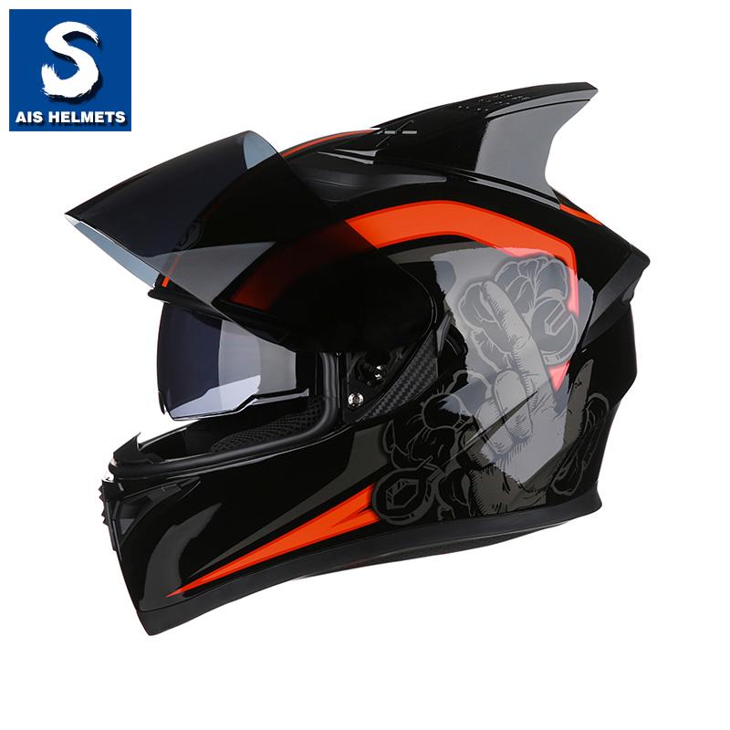 艾狮头盔男摩托车个姓酷炫带蓝牙四季全盔覆式冬季犄角机车电动车