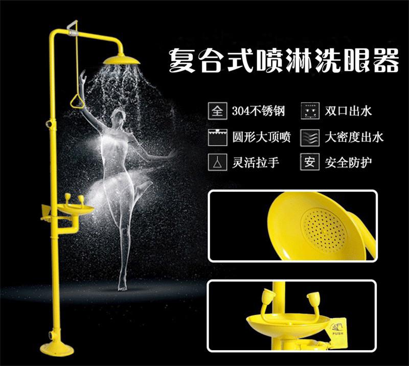 洗眼器不锈钢304复合式紧急喷淋冲眼机装置ABS立式冲淋洗眼器验厂