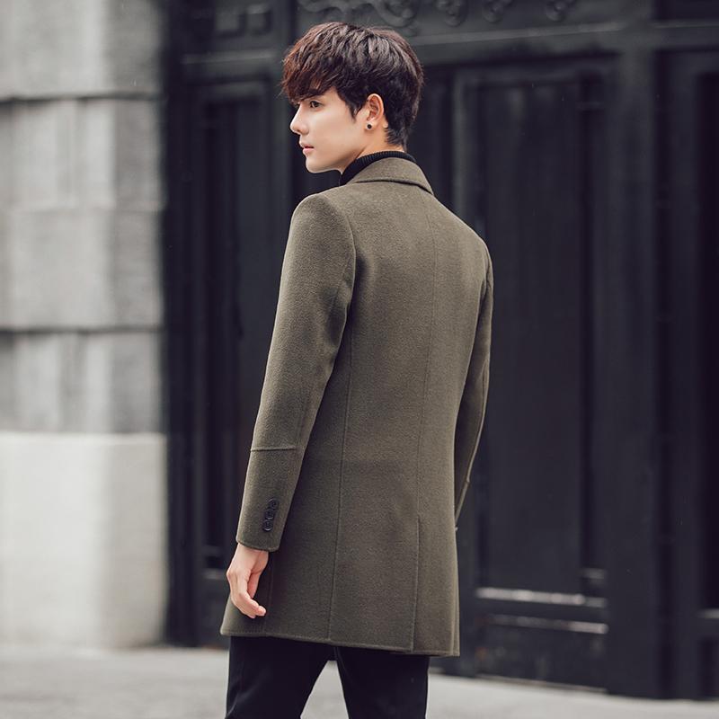 反季羊毛呢子外套男士双面羊绒大衣韩版中长款英伦风妮子风衣潮流