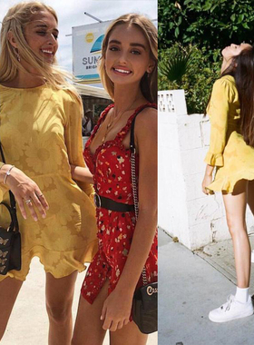 2020夏季新款女装 欧美博主同款黄色暗花纹长袖圆领连衣裙短裙