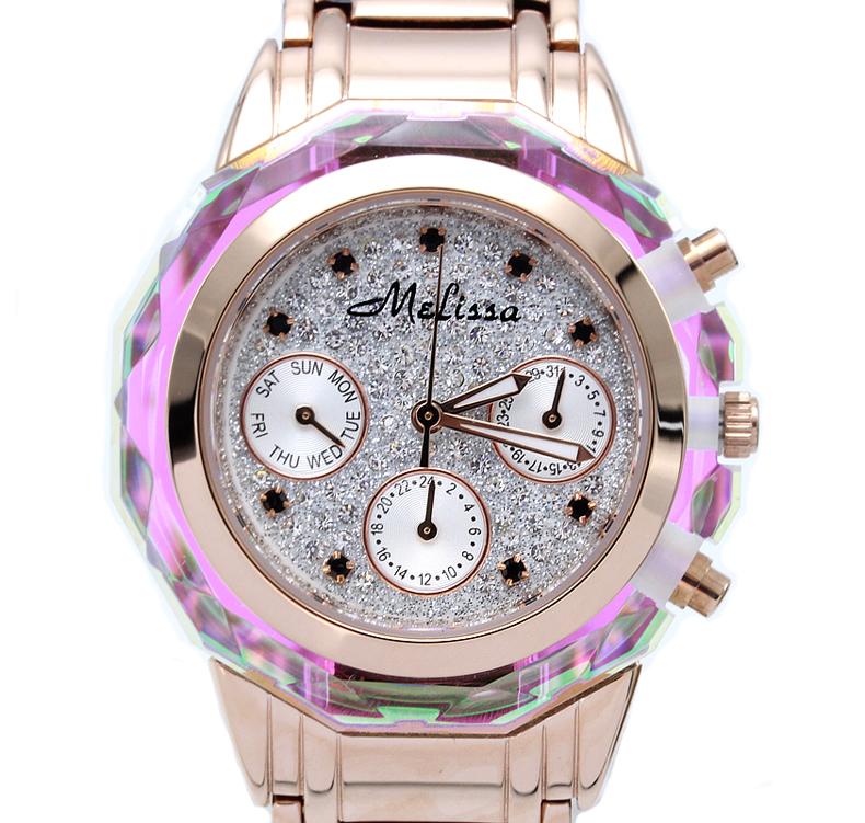 玛丽莎手表正品女表时尚手表水晶女表镶钻锆石日历钢带大气女腕表