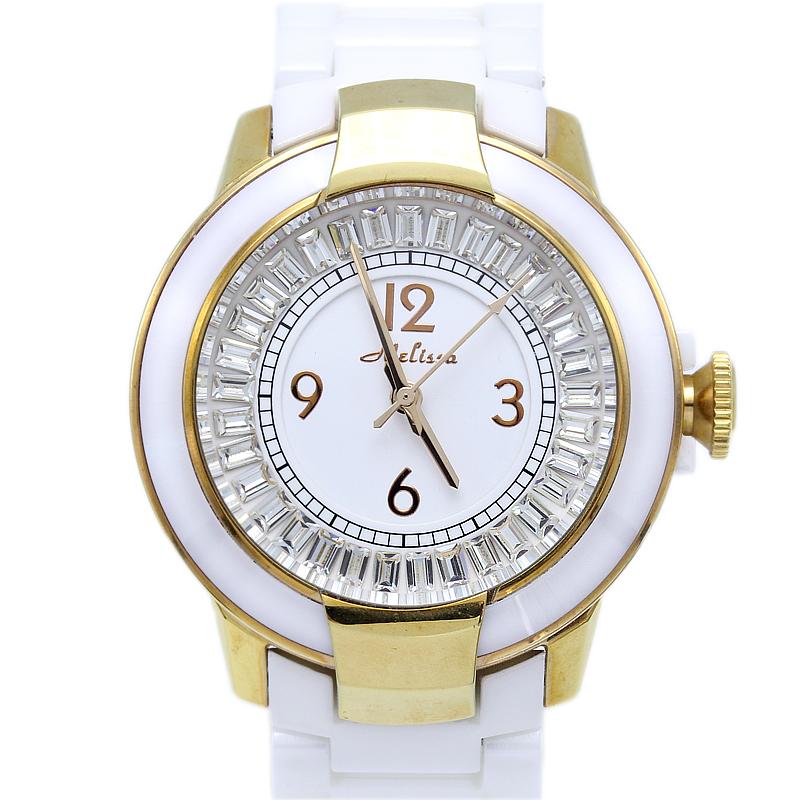 玛丽莎正品手表白陶瓷女表时尚镶钻大气装饰水晶气质休闲时装手表