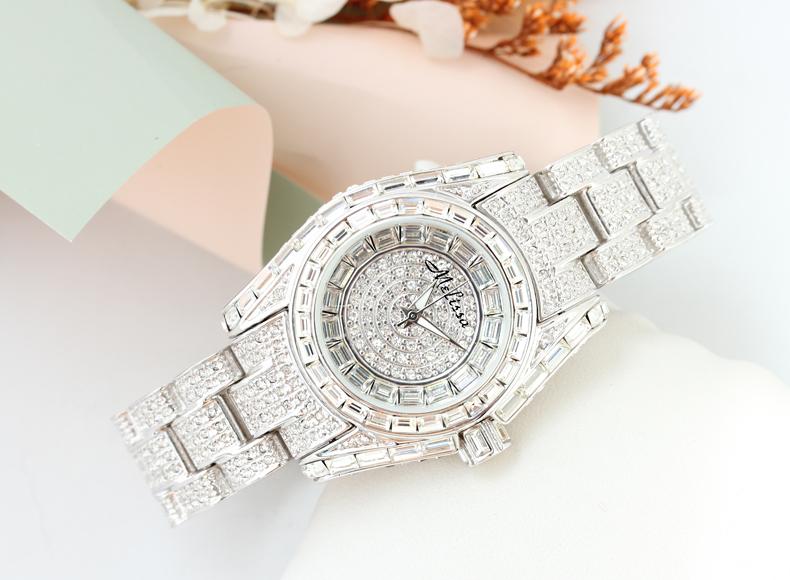 玛丽莎正品水晶镶钻女表时尚奢华休闲装饰手表防水潮流石英女士表