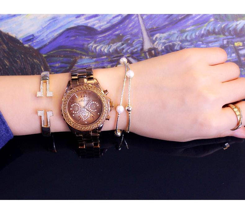 玛丽莎正品镶钻女表咖啡色钢带时尚手表女简约气质潮流防水装饰表