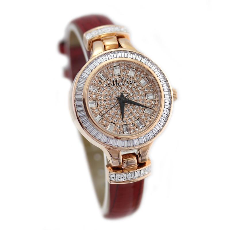 玛丽莎专柜正品水晶镶钻时尚气质女表装饰休闲皮带手表石英腕表潮