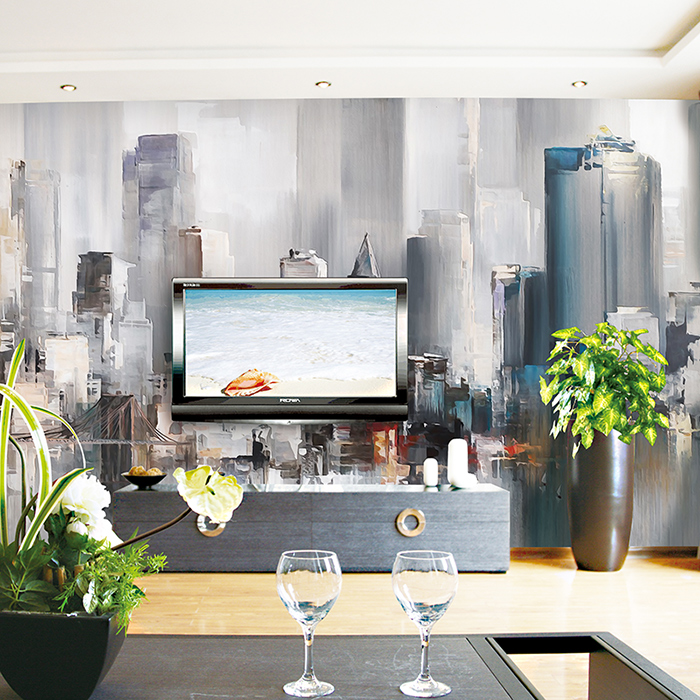 油画水彩工艺无缝壁画墙纸电视背景墙壁纸墙布简约现代 3d 艺术人生