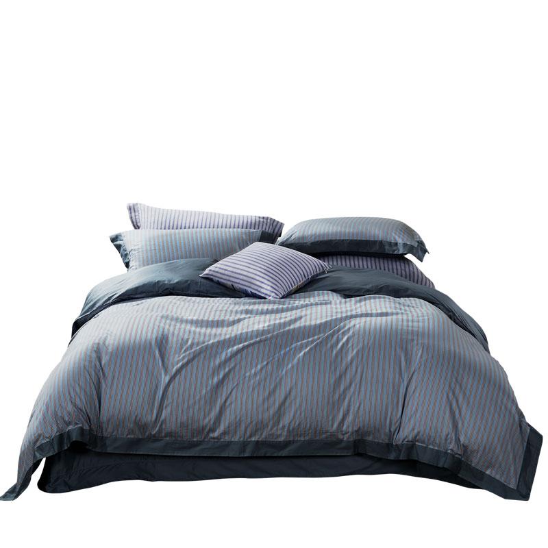 富安娜家纺被套床单纯棉1.8m床单双人简约时尚欧式裸睡条纹四件套