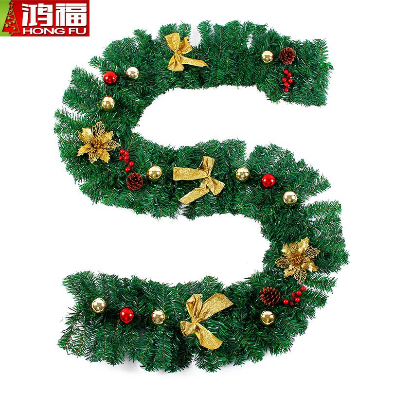 圣诞节装饰品2.7米豪华加密藤条红金色商场酒店橱窗场景布置藤条
