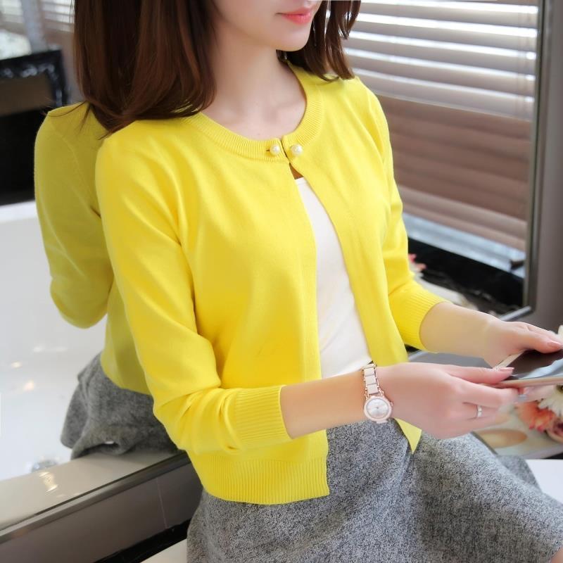 春夏季秋装新款韩版女装开衫短外搭修身长袖披肩空调衫针织衫外套