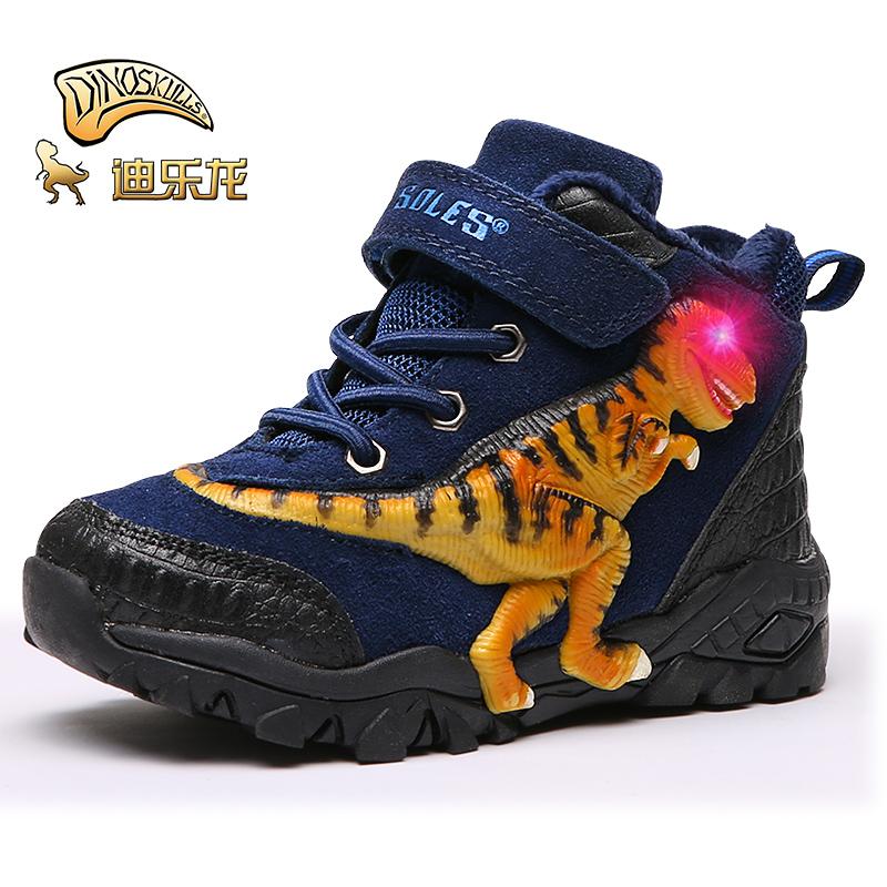 迪乐龙加绒恐龙童鞋2018冬季加厚中大儿童闪灯鞋子中高帮保暖靴子