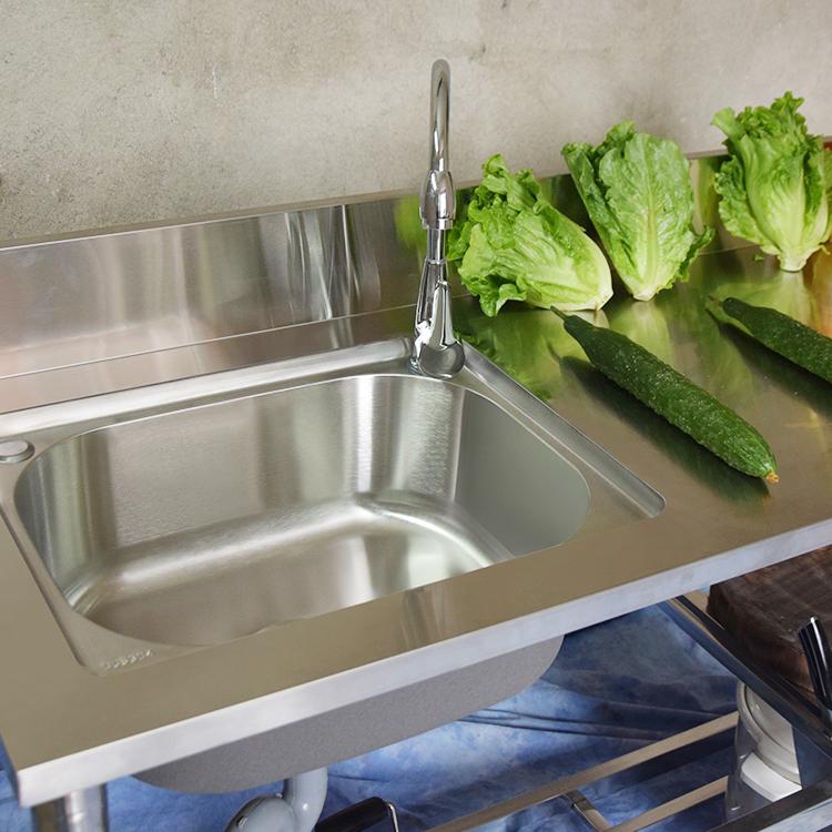 家用廚房不銹鋼水槽單槽加厚簡易洗菜盆帶置物架一體洗手盆洗碗槽