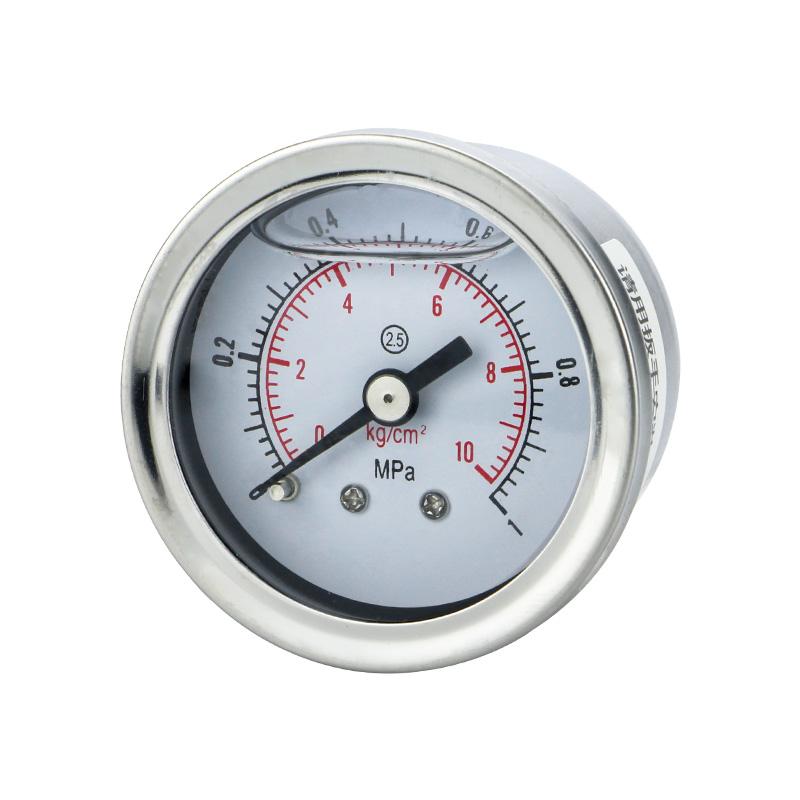 轴向耐震压力表YN40Z不锈钢40mm表盘螺纹M10*1 1/8油压液压负压表