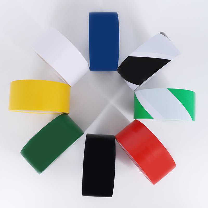 警示胶带PVC黑黄斑马线警戒地标贴地面5S标识彩色定位划线地板胶