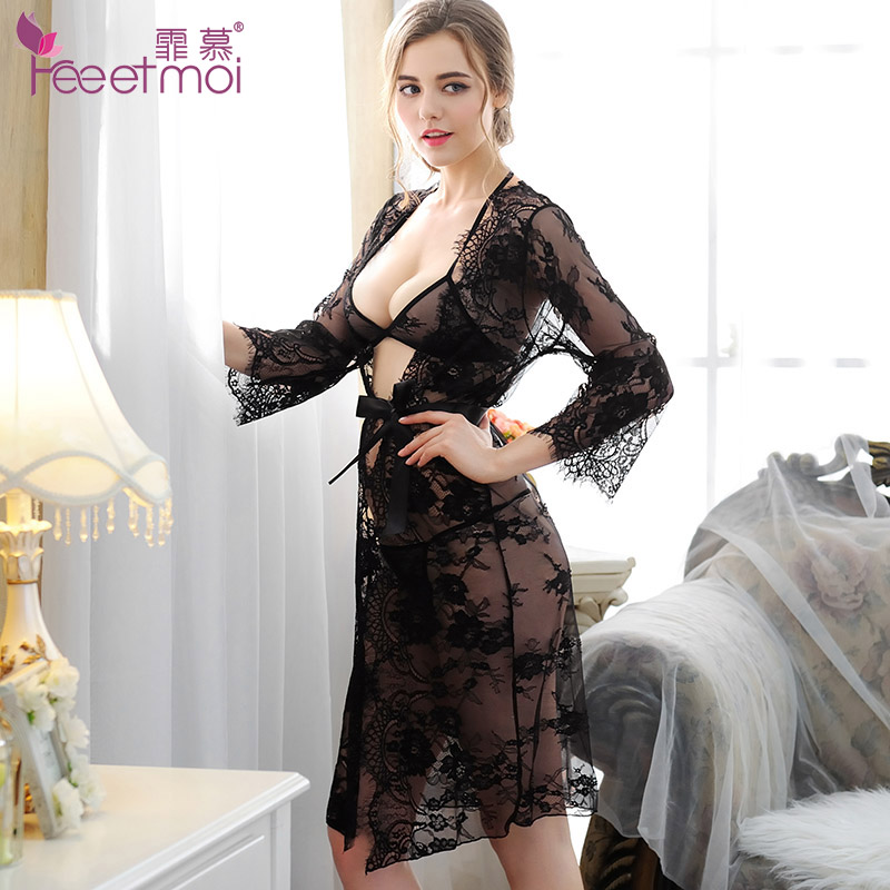 e0f6a90bd56 3 of large size women sexy lingerie sexy transparent bikini suit uniforms  temptation through visual lace pajamas 7707