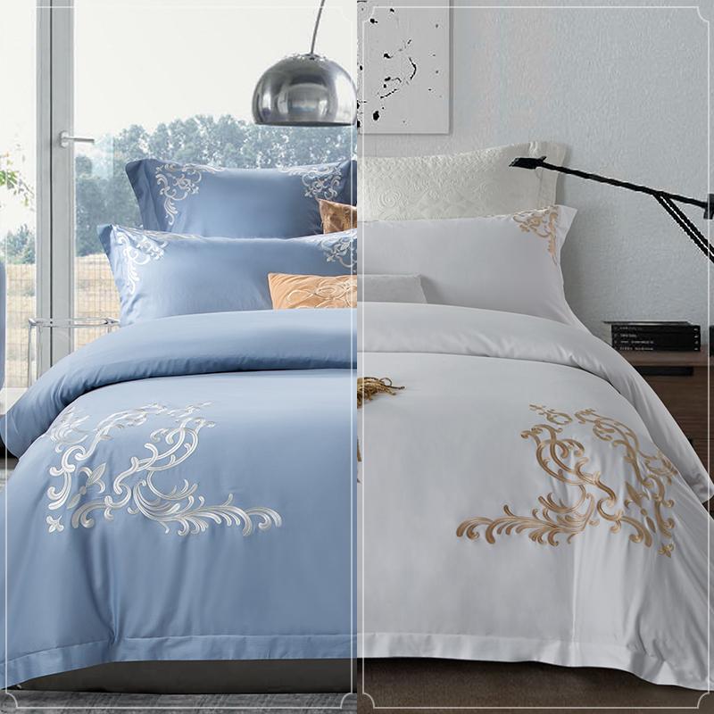 康尔馨酒店床上用品四件套全棉纯棉60支简约被套欧式刺绣1.8m床