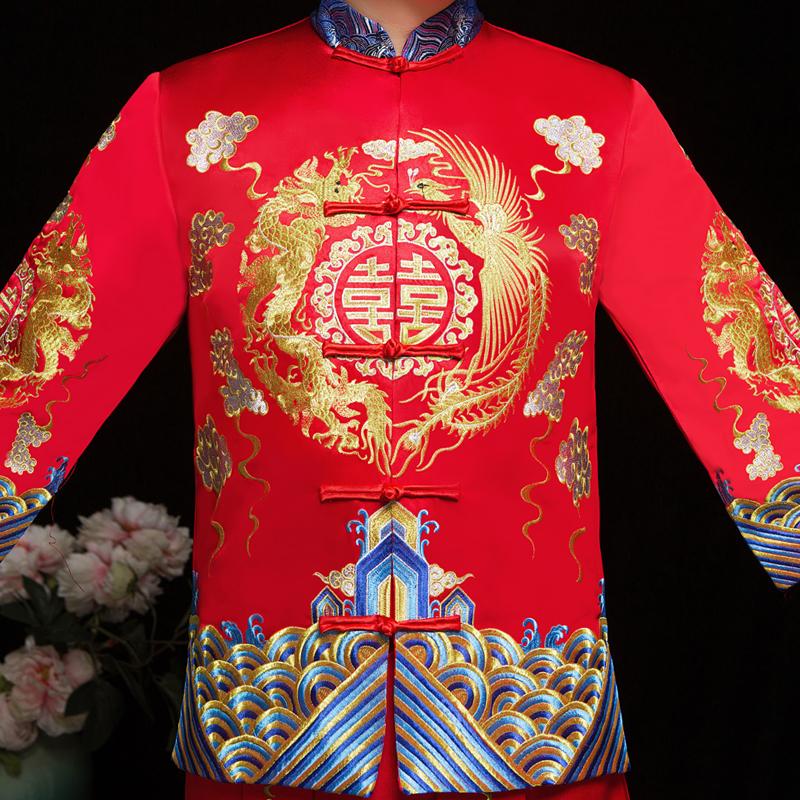 男士秀禾服男新款新郎古装中式结婚礼服男女套装龙凤褂男装敬酒服
