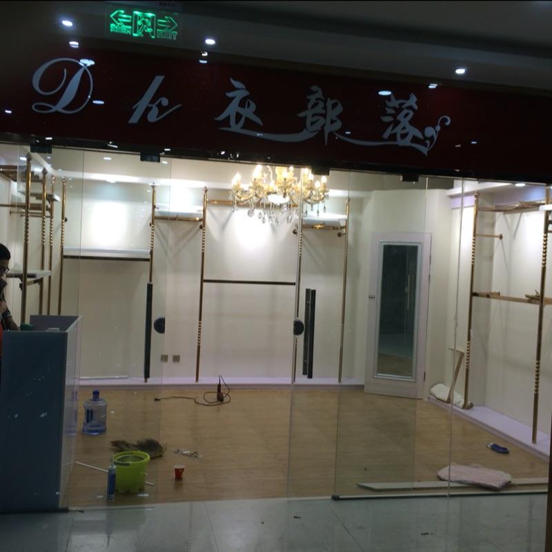 服装店货架展示架男女玫瑰金上墙壁挂式立柱自由组合衣服架落地