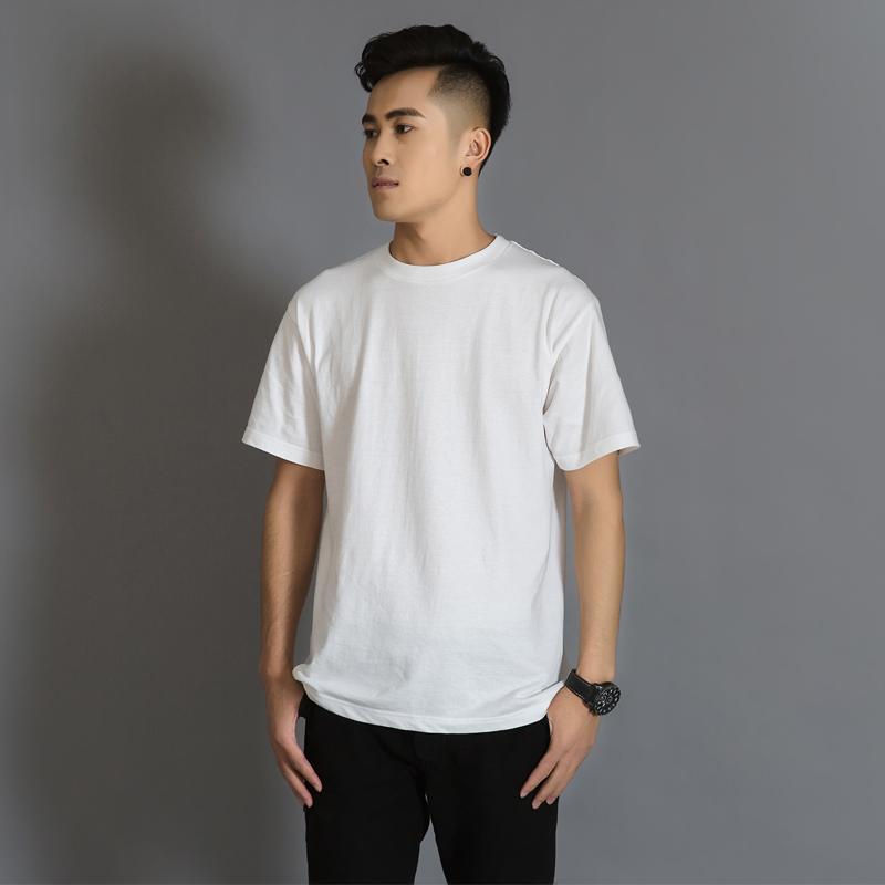 Geyuna日本纯棉纯色情侣短袖打底衫T恤白色男女体恤纯黑半袖衣服