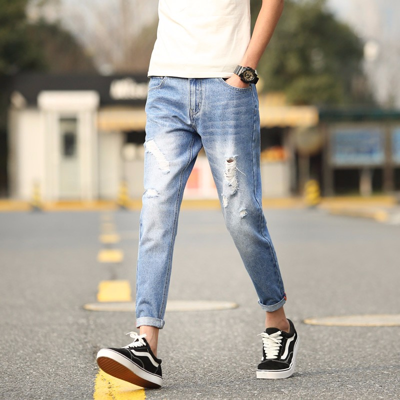 牛仔裤男弹力春夏季长裤子韩版青年修身小脚裤潮流九