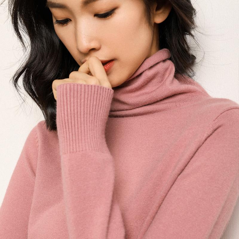 毛衣女高领针织衫秋冬修身套头长袖短款加厚打底衫堆堆领大码毛衣