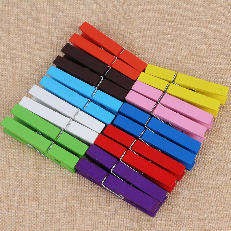 彩色夹子长7CM大号木夹DIY儿童手工材料创意美术照片墙木质夹子