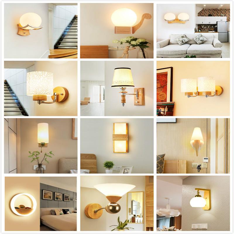 原木酒店工程墙壁灯 LED 北欧现代简约实木壁灯楼梯过道卧室床头灯