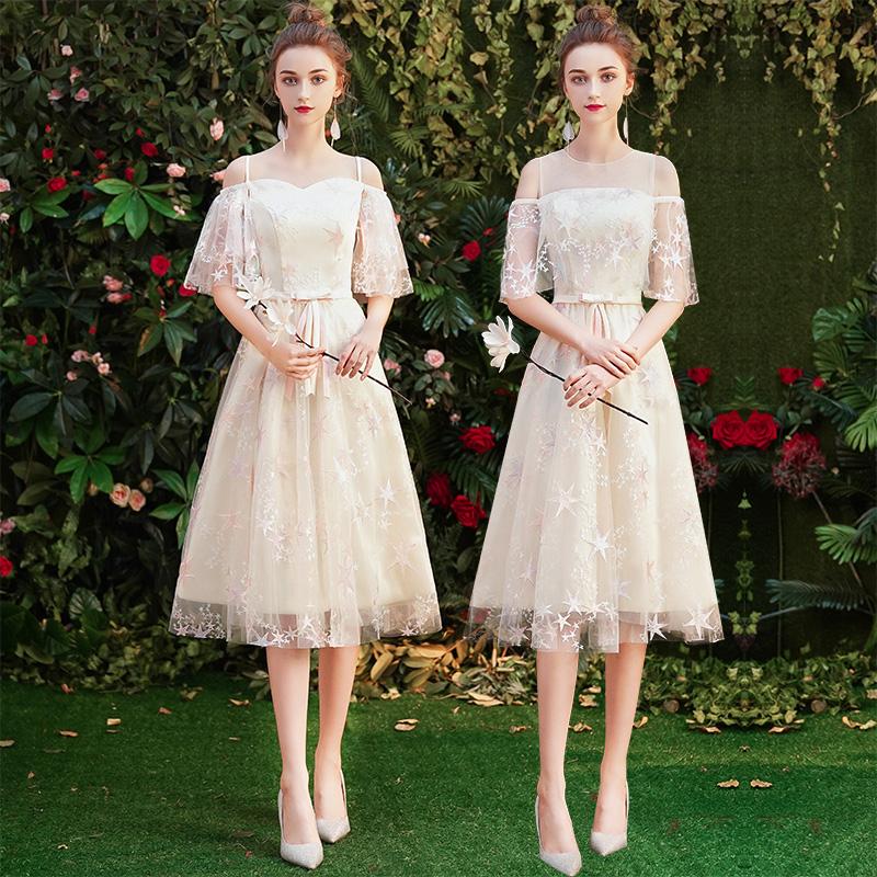 伴娘服2019新款夏季仙气质伴娘团毕业礼服裙姐妹裙香槟色中长款女