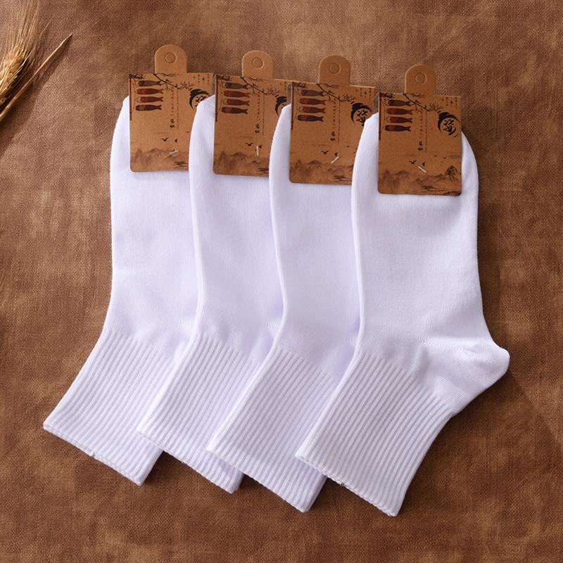 精梳棉白袜子男士纯色黑白色港风ins日系低帮短袜潮中筒长筒袜i子