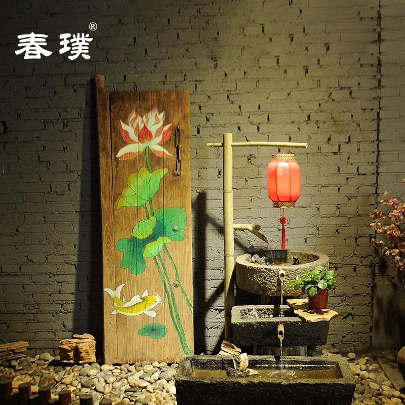 老门板创意背景画风化门板画老榆木彩绘中国风书法牌匾可定制图案