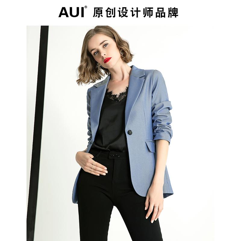 aui蓝色职业西装外套女设计感小众2021春秋新款气质休闲西服上衣