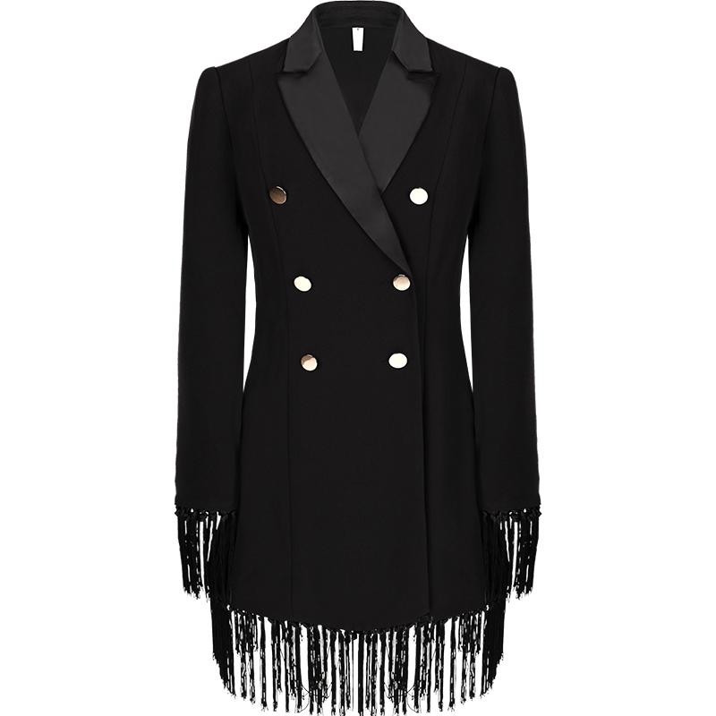 黑色中长款流苏小西装外套女设计感小众2021春秋女装修身收腰西服主图