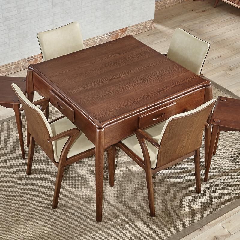 北欧简约金丝椿木实木麻将桌 全自动无噪音棋牌室吃饭餐桌椅组合