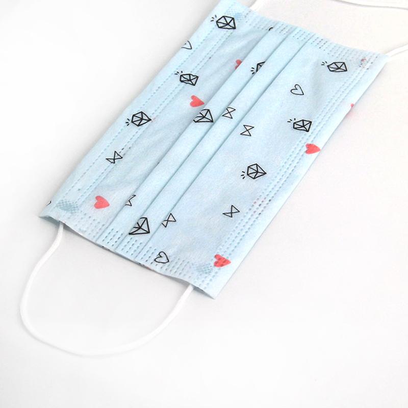 三层印花口罩含熔喷布一次性韩版时尚女神透气个性卡通防尘防飞沫