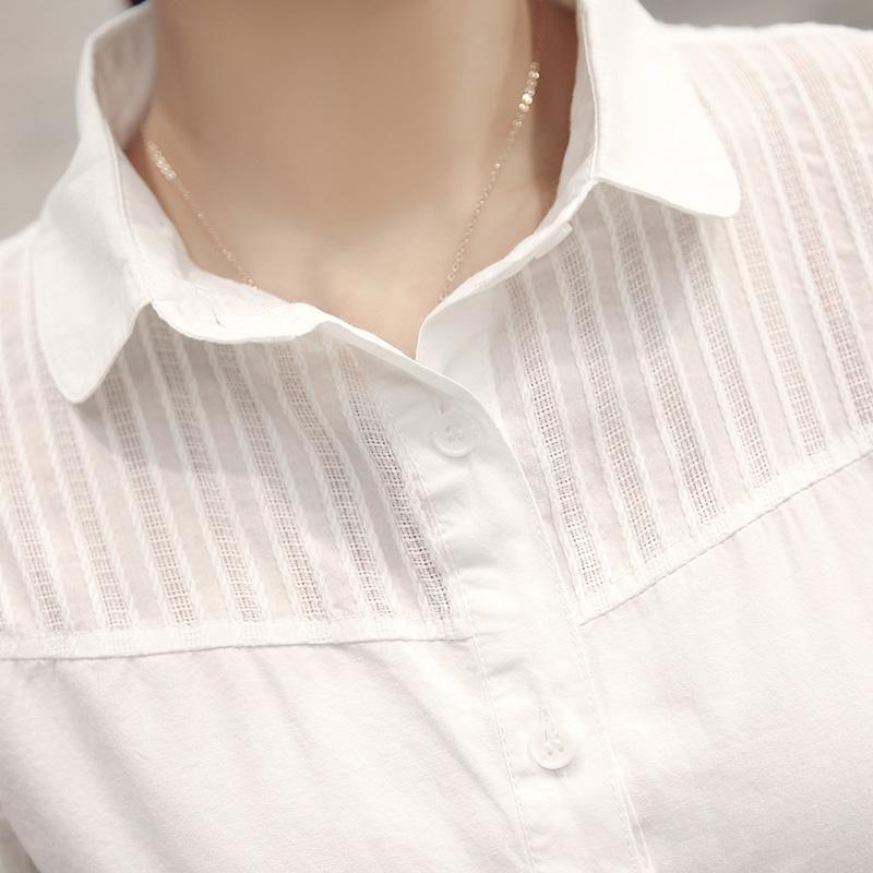 秋装纯棉白衬衫女长袖修身显瘦韩范时尚百搭ol职业装衬衣打底衫