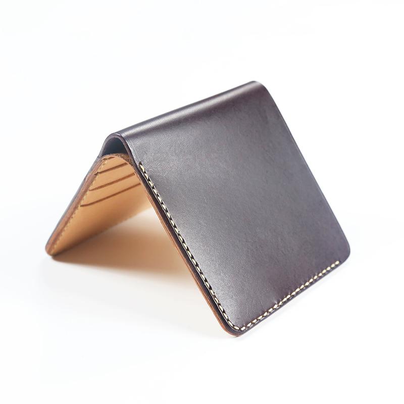 男短款钱包手工真皮植鞣革竖头层牛皮原创手缝超薄女钱夹定制财布