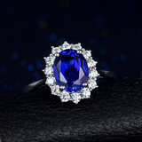 Dai Fei sapphire ring 925 sterling silver plated 18K white gold 2.5 carat colored gemstone tanzanite ring women