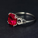 Ruby ring ring 925 sterling silver plated 18K gold tourmaline garnet color treasure natural fusion female model