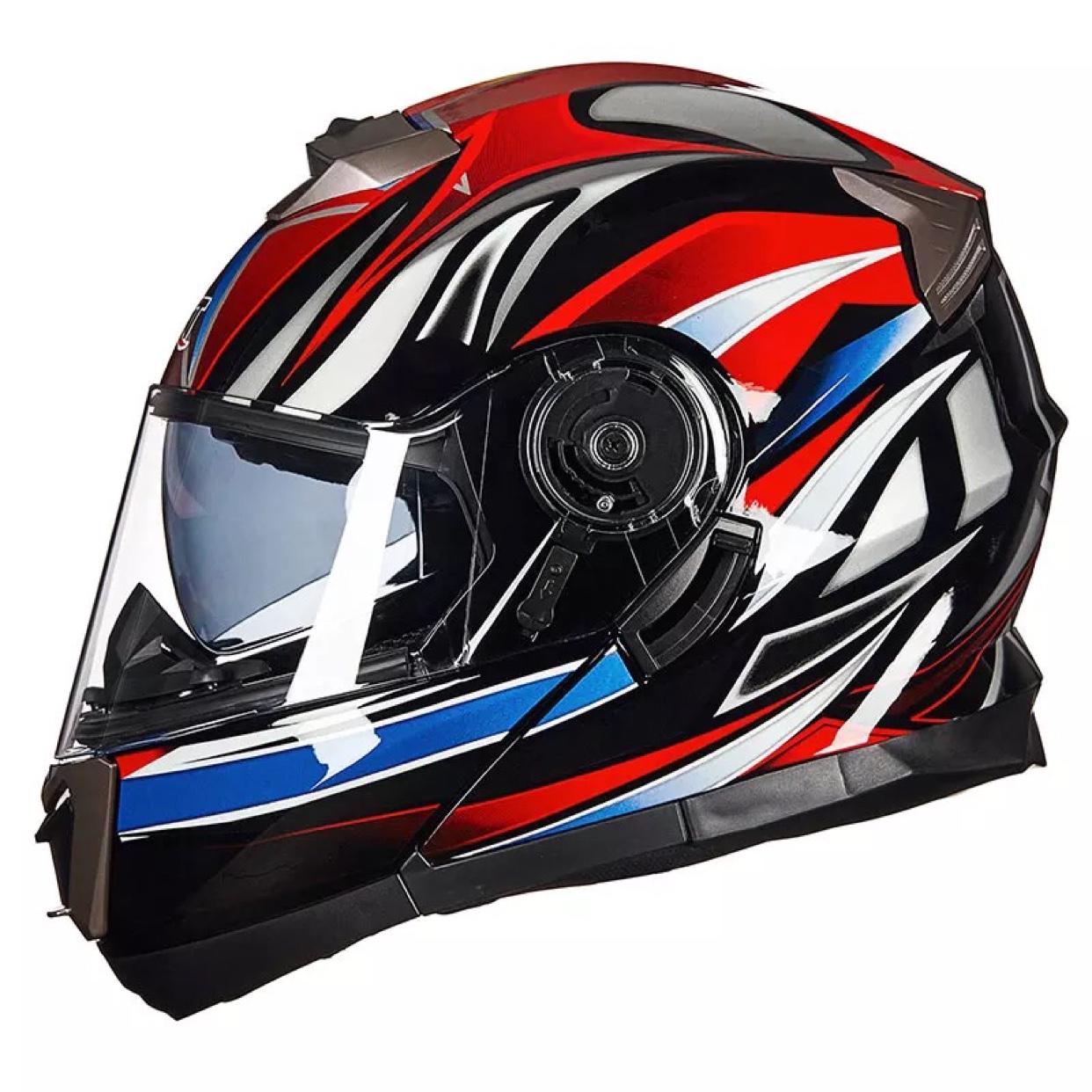 摩托车头盔男女个姓酷双镜片揭面盔防雾冬季全覆式带蓝牙四季 GXT