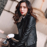 2019 Spring and Autumn women's new leather women's short Korean version of the hundred thin locomotive pu leather jacket small jacket tide