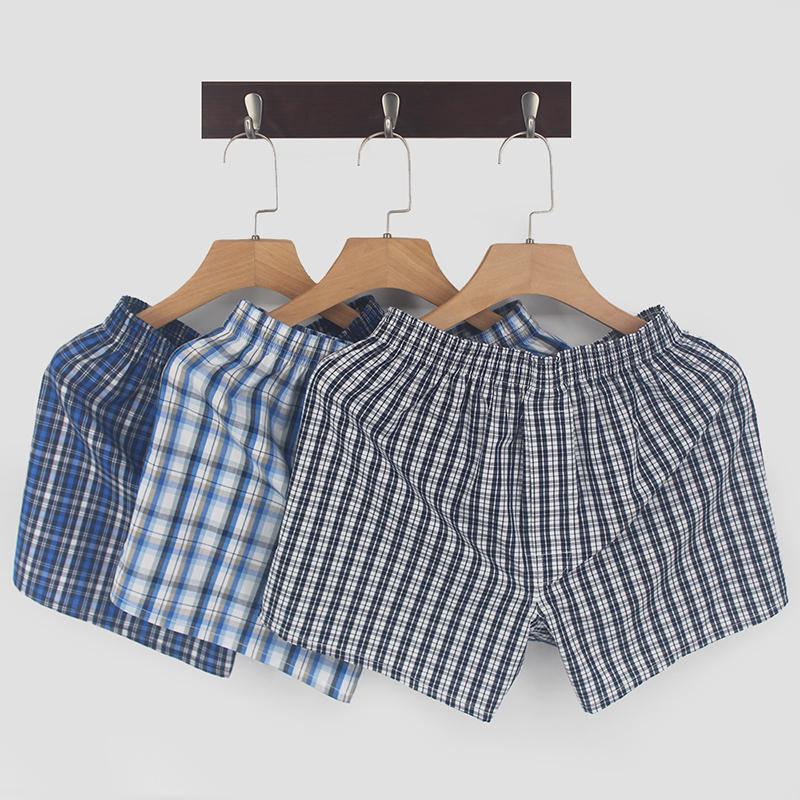 三条装阿罗裤男士宽松纯棉大码平角内裤夏季家居透气潮四角短睡裤